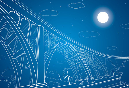 future: Vector big bridge, arch bridge, vector lines art Illustration