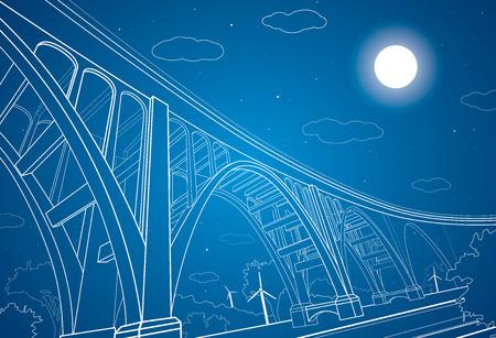 arquitectura: Vector gran puente, puente del arco, líneas vectoriales arte Vectores