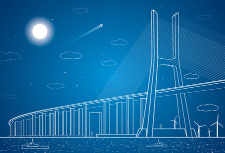 bridge: Bridge over the river, wind turbines, vector panorama Illustration