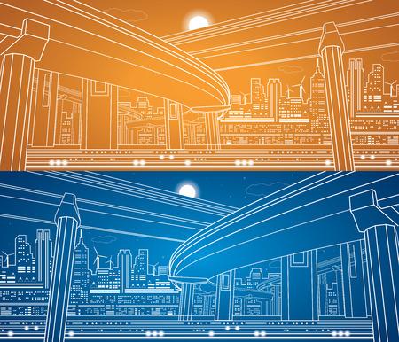 Day and night city, vector lines overpass, vector bridge, vector design