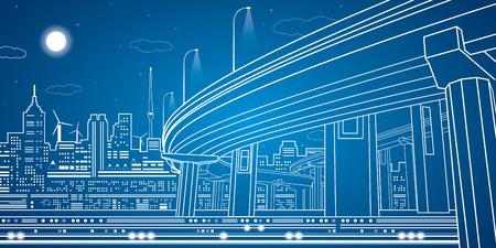 Night city, vector town, vector lines overpass, vector bridge, vector design