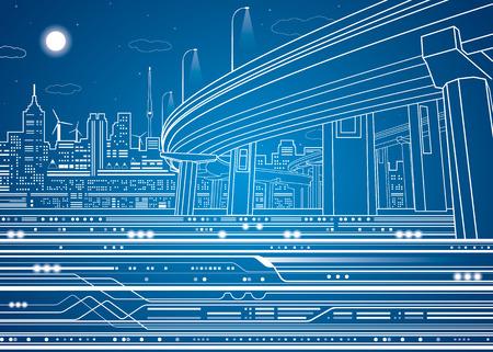Ciudad de la noche, ciudad del vector, paso elevado de líneas vectoriales, puente, metro, tren, diseño vectorial