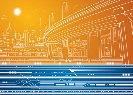 Ilustración de la ciudad, líneas vectoriales puente, puente, metro, tren, diseño del vector Foto de archivo - 37201673