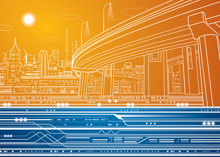underground: Vector city, vector lines overpass, bridge, underground, train, vector design Illustration