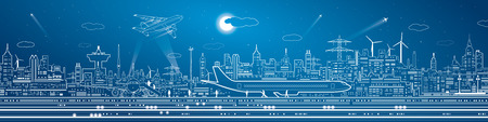 infra construction: Airport mega panorama, aircraft on runway, airplane takeoff, transport and infrastructure, night city on background, vector design art Illustration