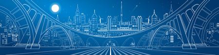 landscape architecture: Big bridge, amazing panorama of night city, neon town. Architecture and infrastructure illustration. White lines landscape, vector design art Illustration