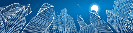 Business building, mega panorama of night city, urban scene, infrastructure illustration, modern architecture, skyscrapers, airplanes flying, vector design art