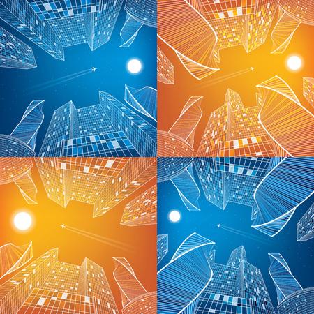 planos electricos: Empresas de construcción, el día y la noche de la ciudad, conjunto de imágenes de la escena urbana, ilustración infraestructura, la arquitectura moderna, rascacielos, vuelo de avión, vector de diseño de arte Vectores