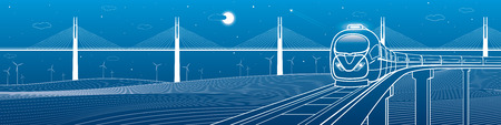 railway transportation: Amazing transportation and technology panoramic. Train goes over the railway on the background of cable-stayed bridge and wind turbines, vector design art Illustration