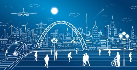 mouvement de train, de la gare. Town Square, les gens marchent. Industriel et de transport illustration, l'infrastructure de la ville sur fond et le pont, mouche d'avion, art design vecteur Vecteurs
