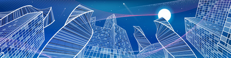 urban scene: Business building, night city panorama, urban scene, infrastructure illustration, neon waves, modern architecture, skyscrapers, airplane flying, vector design art
