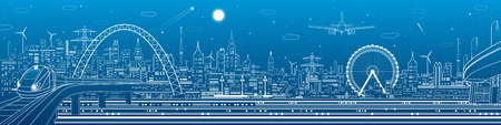 Industrial and transport panorama, urban skyline, white lines landscape, night city, airplane fly, train on the bridge, vector design art Ilustrace