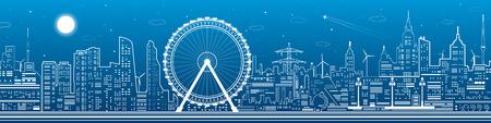 nightlife: Panorama of the city. Ferris wheel, office buildings, town nightlife, neon lines, vector design art
