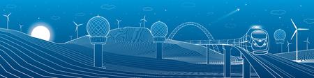 wind force: Train move. Weather Stations. Mountains landscape, windmills, wind force, energy and transportation illustration, vector design art Illustration