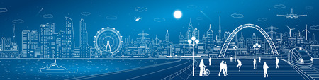 town square: Amazing infrastructure and transport panorama. Train move, railway station, town square, people walk, ships on the water, night city skyline, arch bridge, airplane fly, vector design art