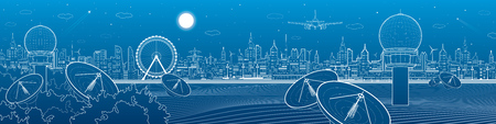Radares en las maderas, la comunicación y la tecnología, la estación meteorológica, horizonte de la noche, la ciudad de neón, escena urbana, diseño del vector del arte Foto de archivo - 64006476