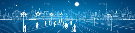 urban life: Amazing city panorama, people walk on the street, citys skyline on background, urban life, neon town, vector design art Illustration