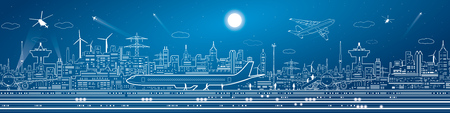 Airport mega panorama, aircraft on runway, airplane takeoff, transport and infrastructure, night city on background, vector design art Stock Illustratie