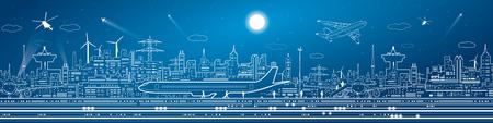 Airport mega panorama, vliegtuigen op baan, vliegtuig opstijgen, vervoer en infrastructuur, 's nachts de stad op de achtergrond, vector ontwerp kunst