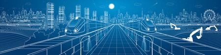 Increíble infraestructura panorama de la ciudad, los trenes viajan a través de puentes, ilustración industrial y el transporte, la ciudad de noche, el vuelo del avión, la construcción de escena, diseño del vector del arte Ilustración de vector