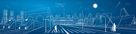 mega city: Mega infrastructure city panorama, train railway station, urban scene, industrial and transportation illustration, night town, airplane flying, cargo port, ships on the water, vector design art