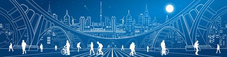 Grande ponte, splendido panorama della città al neon, un sacco di persone che camminano per la strada. Vita di città. Architettura e l'illustrazione delle infrastrutture. Linee bianche paesaggio urbano, la progettazione grafica vettoriale