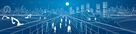 railway transportation: Mega infrastructure panorama city, train on the railway station, people walking on street, industrial and transportation illustration, night town, airplane flying, building scene, vector design art Illustration