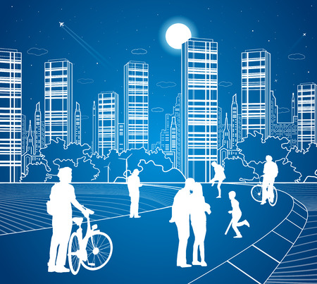 walk of life: City scene, people walk on the street, citys skyline on background, street life, night town, vector design art