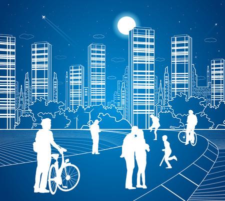 City scene, people walk on the street, city's skyline on background, street life, night town, vector design art 矢量图像