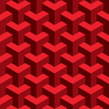 unreal: Vector unreal texture, abstract design, illusion construction, red background