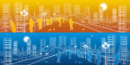 megalopolis: City life amazing panorama. People watching from the bridge to the megalopolis, train move, infrastructure and transportation illustration, urban skyline, day and night, vector design art