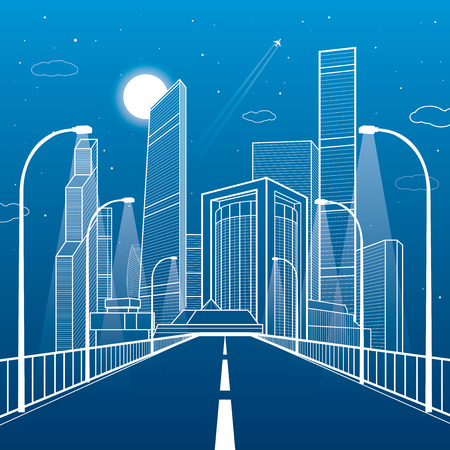 Highway. Road lighting lanterns. Business center, architecture and urban illustration, neon city, white lines composition, skyscrapers and towers, vector design art Illustration