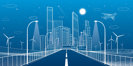 Highway. Road lighting lanterns. Business center, architecture and urban illustration, neon city, white lines composition, infrastructure, skyscrapers and towers, vector design art Illustration