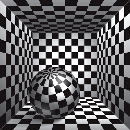 checkered volume: Volume plaid sphere. The inside plaid room. Black and white cell box with a ball inside. 3d chess board, vector design background and object Illustration