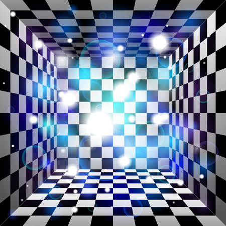 checkered volume: Vector translucent light effect. Plaid room, black and white cell, 3d chess board. Abstract vector design background