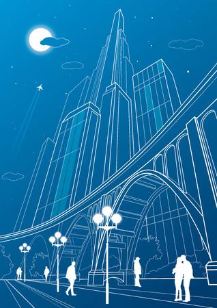 Big bridge, night city on background, vector industrial and infrastructure illustration, vector lines landscape, neon town, people walking, vector design art