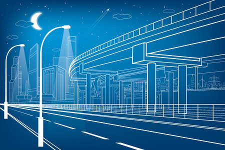 자동차 비행, 건축 및 인프라 구성, 전송 육교, 고속도로, 흰색 라인 도시 장면, 배경에 밤 도시, 벡터 디자인 아트 일러스트