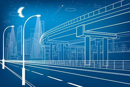 자동차 비행, 건축 및 인프라 구성, 전송 육교, 고속도로, 흰색 라인 도시 장면, 배경에 밤 도시, 벡터 디자인 아트