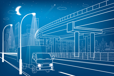 truck on highway: Automotive flyover, truck travels, architectural, infrastructure and transportation illustration, transport overpass, highway, white lines urban scene, night city on background, vector design art