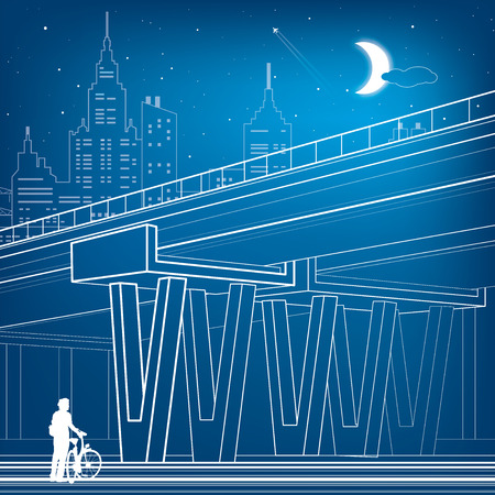 flyover: Flyover, architectural and infrastructure illustration, transport overpass, highway, white lines urban scene, cyclist, night city on background, vector design art