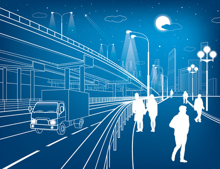Automotive flyover, truck travels, architectural, infrastructure and transportation illustration, transport overpass, people walking, highway, white lines, urban scene, night city, vector design art Illustration
