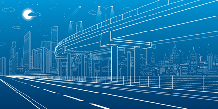 Automotive isolation, architectural and infrastructure illustration, transport overpass, highway, white lines urban scene, night city on background, dynamic composition, vector design art  イラスト・ベクター素材