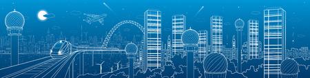 Ville et le transport panorama futuriste, train sur le pont, horizon, tour et gratte-ciel, de la technologie de communication, des lignes blanches paysage, ville de la nuit, mouche d'avion, art design vecteur