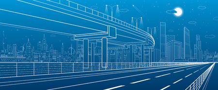 Automotive isolation, architectural and infrastructure illustration, transport overpass, highway, white lines urban scene, night city on background, dynamic composition, vector design art Illustration