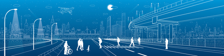 walk of life: City scene, people walk on the street, citys skyline on background, street life. Automotive flyover, infrastructure panorama, transport overpass, highway, white lines, neon town, vector design art