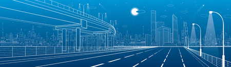 flyover: Automotive flyover, architectural and infrastructure panorama, transport overpass, highway. Business center, night city, towers and skyscrapers, white lines urban scene, vector design art