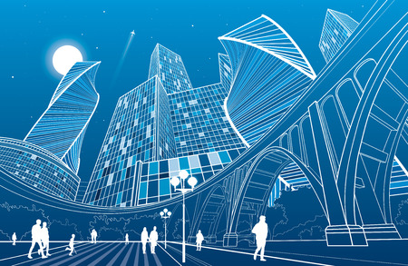 Big bridge, night city on background, people walking to square, industrial and infrastructure illustration, white lines landscape, urban scene, neon town, vector design art