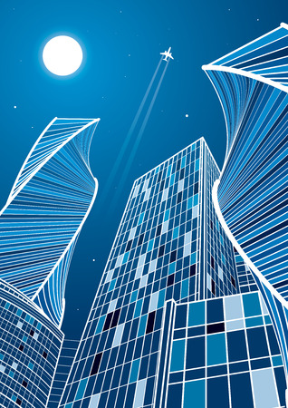Airplane flying. Business building, modern skyscrapers, white lines on blue background, neon city, vector design art