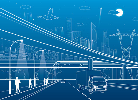 off highway: Car overpass, infrastructure, urban plot, people walking, airplane takes off, train move ob the bridge, neon city on background, truck on highway, white lines illustration, vector design art