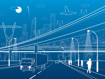 off highway: Car overpass, infrastructure, urban plot, airplane takes off, train move ob the bridge, neon city on background, truck on highway, white lines illustration, vector design art